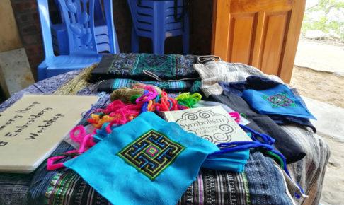 画像:ベトナム サパで少数民族に習う刺繍